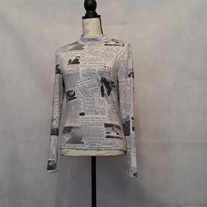 Shein Newspaper Print Mock Turtleneck Bodycon
